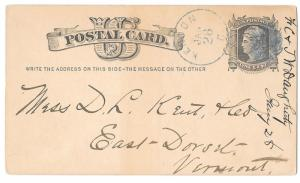 Ohio 1879 Kenton O Fancy Blue Cork Cancel on UX5 Postal Card