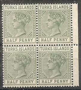 Turks Islands 48 MNH 1885 1/2p dull grn Victoria Block
