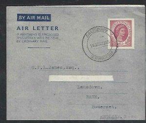 RHODESIA & NYASALAND  COVER (P3009B) AEROGTRAM 6D QEII TO ENGLAND NO MESSAGE