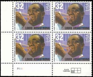 PCBstamps  US #2982 PB  $1.28(4x32c)Louis Armstrong, MNH, (PCB-3a)
