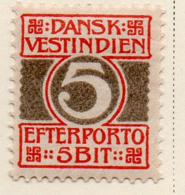 Danish West Indies Sc J5 1905 5 bit Postage Due stamp mint