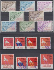 COSTA RICA 1972-82 SPECIAL DELIVERY Sc E1-E8 (16x) FULL ISSUES HINGED MINT/USED
