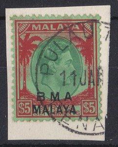 BC902) Malaysia BMA overprints 1945-48 KGVI $5 Green & red/emerald