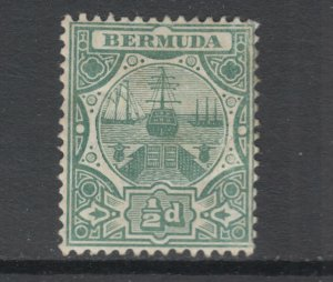 Bermuda Sc 33 MLH. 1909 ½p green Dry Dock, sound, F-VF