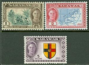 EDW1949SELL : SARAWAK 1950 Scott #192-194 High Values VF Mint NH Catalog $93.00.