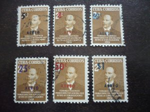 Stamps- Cuba-Scott# C51-C56 - Used Set of 6 Stamps - Overprinted & Surcharged