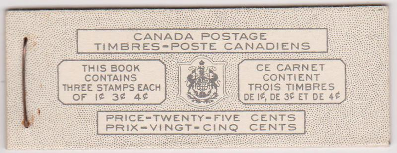 Canada USC #BK43a Bilingual with panes of 1c,3c & 4c - VF-NH