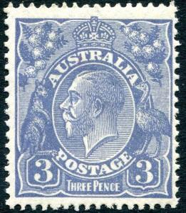 AUSTRALIA-1928 3d Dull Ultramarine Sg 100 pencil annotation on reverse UNMOUNTED