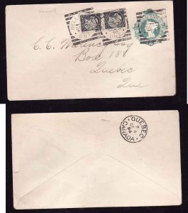 Canada #8952-2c QV stationery uprated with 1/2c(2) small queens-Belleville squar