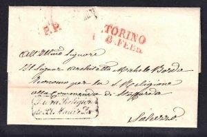 ITALY POSTAL HISTORY 1869 SFL RED TORINO TOWN STAMP + P.P. ORDINE MILITARIO