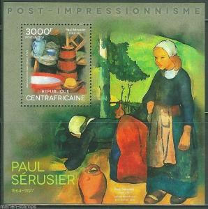CENTRAL AFRICA POST IMPRESSIONISM PAUL SERUSIER PAINTINGS  S/S  MINT NH