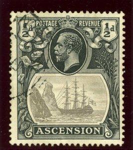 Ascension 1924 KGV ½d grey-black & black very fine used. SG 10. Sc 10.