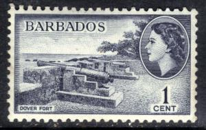 Barbados 1953 - 63 QE2 1ct Indigo Dover Port MM SG 289 ( C1067 )