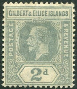 GILBERT & ELLICE ISLANDS-1916 2d Greyish Slate Sg 14 MOUNTED MINT V34660