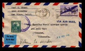 US 1946 FFC to Venezuela / Returned / Mixed Franking (I) - L12253