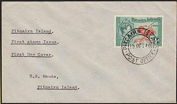 PITCAIRN 1940 ½d on FDC addressed locally to H E Maude......................5786