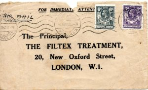 1932 Northern Rhodesia Sg 6/7 4d & 6d Air Mail Cover to London via Cairo