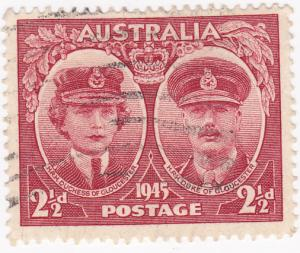 Australia - 1945- ROYAL VISIT - 2 1/2d Red - Used SG 209