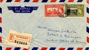 Trinidad 4c QEII Memorial Park and 24c QEII Government House 1955 Registratio...
