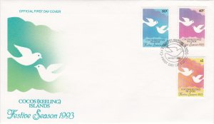 Cocos Islands # 286-288, Festive Season, First Day Cover