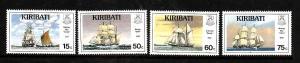 Kiribati-Sc#557-60-Unused NH set-Sailing Ships-1990-please note there is a spot
