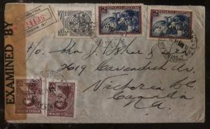 1944 Buenos Aires Argentina Censored cover To Victoria Canada