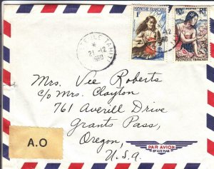 1960, Tahiti, French Polynesia to Grants Pass, OR, Airmail, AO (30588)