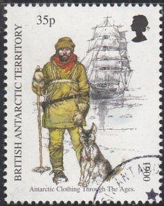 British Antarctic Territory 1998 used Sc #260 35p Man with dog, ship Antarcti...