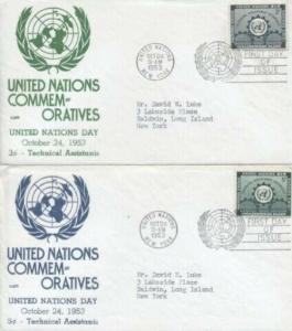 UN #19/20 UN DAY 1953 - Anderson set of 2