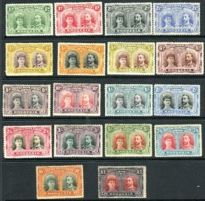 RHODESIA-1910-13 ½d to £1 Perf 14  A mounted mint set of 18 Sg 119-165