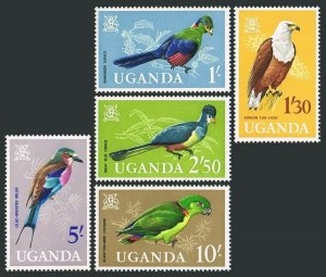 Uganda 105-109,MNH.Michel 95-99. Arms,Birds 1985.Turaco,Fish eagle,Roller,Love.