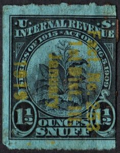 TE328Ai Snuff Tax Stamp: 1½ Ounce: Series of 1915 (1915) Used