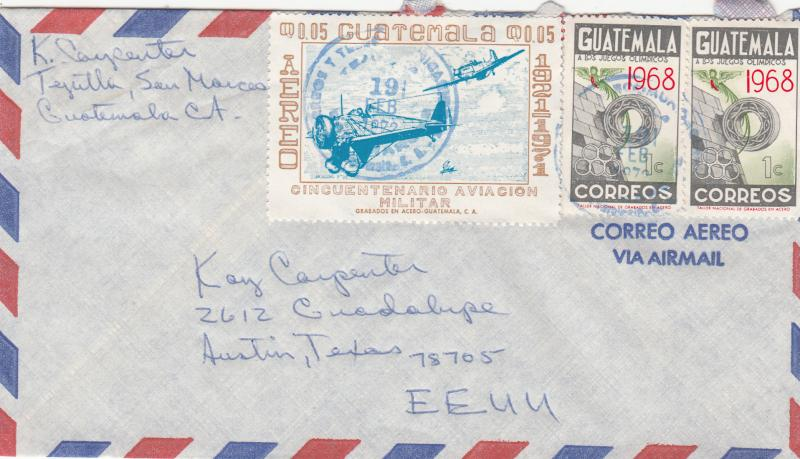 Guatemala 399 / C475 Used on Airmail Cover