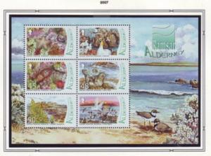 Alderney Sc 296a 2007 Wetlands birds flowers stamp sheet NH