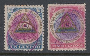 El Salvador 1900 Official Set with Violet Handstamp Used. Scott O75-O76
