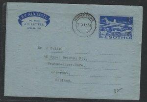LESOTHO COVER (PP2004B) 1974 10C/9C AEROGRAM NYAKOSUBA TO ENGLAND