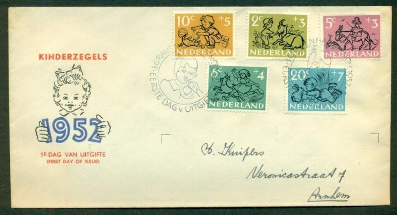 NETHERLANDS #B243-7 Child Welfare Official FDC, Complete set, NVPH $150.00