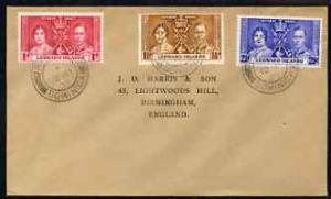 Leeward Islands 1937 KG6 Coronation set of 3 on cover wit...
