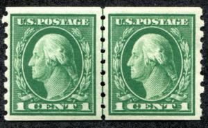 UNITED STATES 412 MNH LINE PAIR, APS CERTIF. nibbed perfs right, genuine