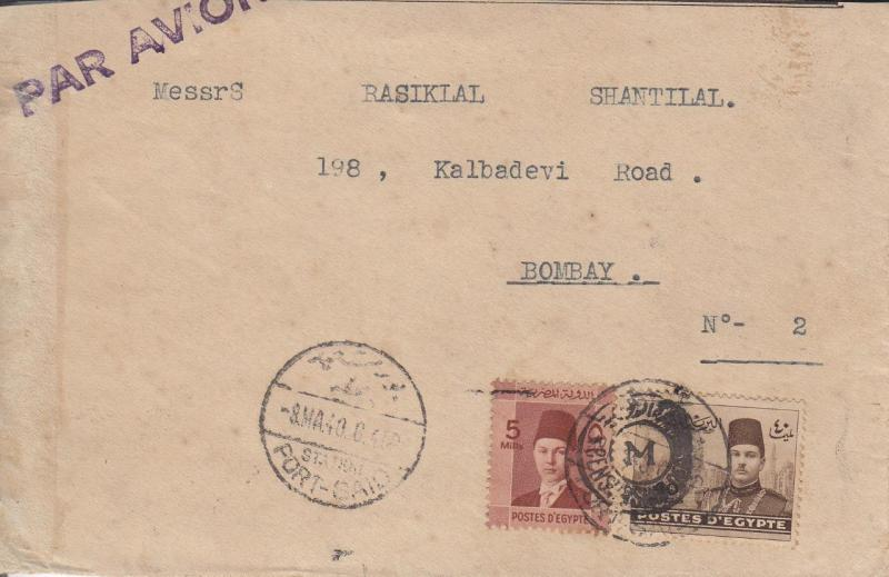 1940, Port Said, Egypt to Bombay, India, Airmail, See Remark (24304)