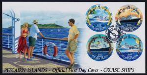Pitcairn Islands 531-4 on FDC - Cruise Ships, Birds, Flowers, Shells