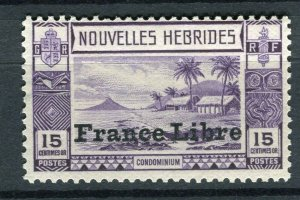 FRENCH; NEW HEBRIDES 1940s FRANCE LIBRE pictorial issue Mint hinged 15c. value