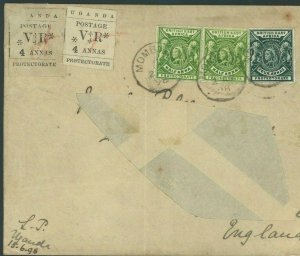 UGANDA PROTECTORATE *MISSIONARY* LOCAL ISSUES Cover Genuine Usage 1898 W09a