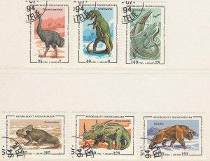 Malagasy Republic 1994 Prehistoric Animals Dinosaurs Full Set Used 11898