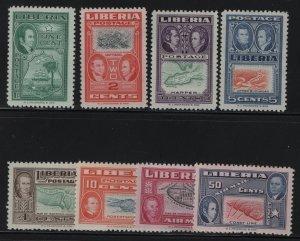 LIBERIA, 332-337, C68-C6, SET(8), USED, 1952, MAP OF MONROVIA, JAMES MONROE