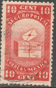 MEXICO G1, 10¢ INSURED LETTER. USED. F-VF (702)