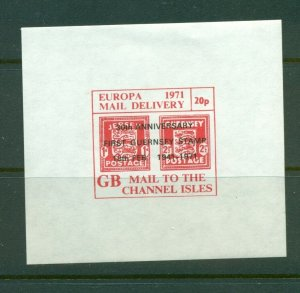 Cinderella - 1971 British Strike Mail MNH 20p Channel Is. stamp in small sheet