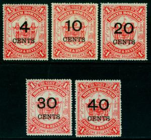 NORTH BORNEO  1895 Coat of Arms - SURCHARGED set Sc# 74-78  mint MH VF