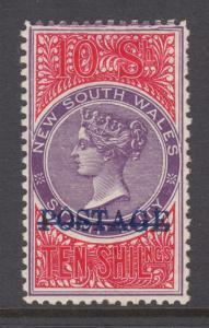 New South Wales Sc 75c MOG. 1885 10sh mauve & claret Queen Victoria, perf 12x11