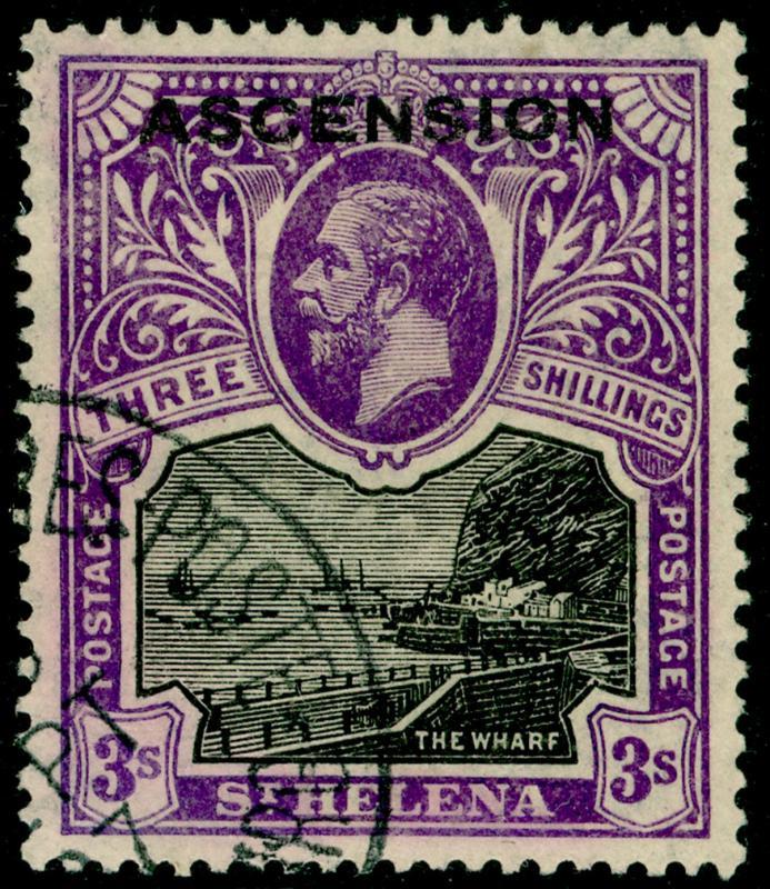ASCENSION SG8, 3s black & violet, VFU. Cat £160.